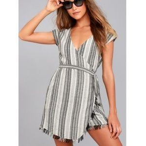 Lulu's | Island Retreat Gray Striped Wrap Dress